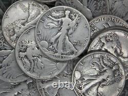 (Roll of 20) $10 FV 90% Silver Walking Liberty Half Dollars 50c FULL DATE ECC&C