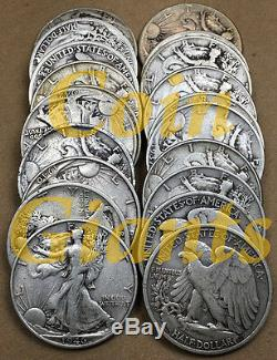 Roll of 20 Random 1916-1947 90% Silver Circulated Walking Liberty Half Dollars