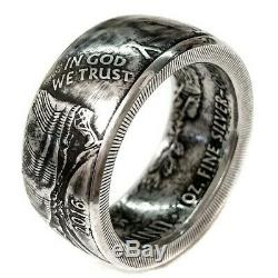 Silver American Eagle Coin Ring 1 oz. 999 Size Silver 13-17 Walking Liberty US