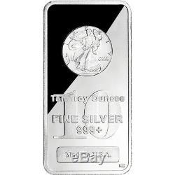 TEN (10) 10 oz. Highland Mint Silver Bar Walking Liberty Design. 999+ Fine