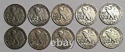 TEN 90% Circulated Silver Liberty Walking Half Dollars $5 Face Value