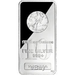 TWO (2) 10 oz. Highland Mint Silver Bar Walking Liberty Design. 999+ Fine