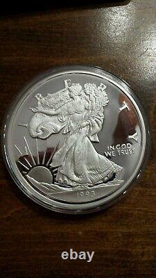 The Washington Mint 1993 8 Troy Oz. 999 Silver Proof Walking Liberty Round