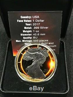 USA TOTAL SOLAR SUN ECLIPSE American Eagle Walking Liberty 2017 Silver coin 1 oz