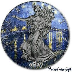 USA VAN GOGH ART American Silver Eagle 2019 Walking Liberty $1 Dollar Coin 1 oz