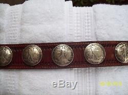 US Walking Liberty & Bald Eagle Silver Half Dollar Coin Leather BELT 18 coins