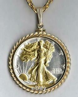 U. S. Walking Liberty Half Dollar Necklace GOLD & SILVER Coin