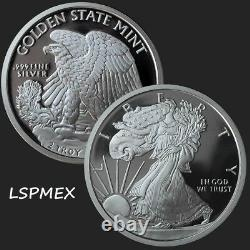 Walking Liberty American Eagle 2 oz. 999 Silver USA Made BU Bullion Round