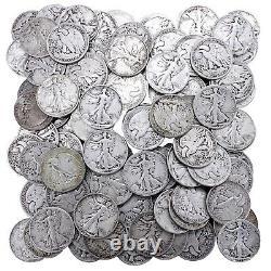 Walking Liberty Half Dollar Lot 90% Silver $50 Face 100 US Coins Mixed Date