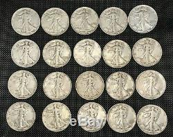 Walking Liberty Silver Half Dollar Coins-roll of 20 coins (Beautiful Condition)