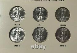 Walking Liberty Silver Half Dollar Short Set GEM Uncirculated In Deluxe Album
