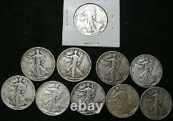 Walking Liberty half dollar lot of 10 Mixed years/ mints Lot-5