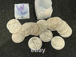 Walking Liberty roll 1916-1947 half dollar full roll 20 coins 90% Silver Lot1